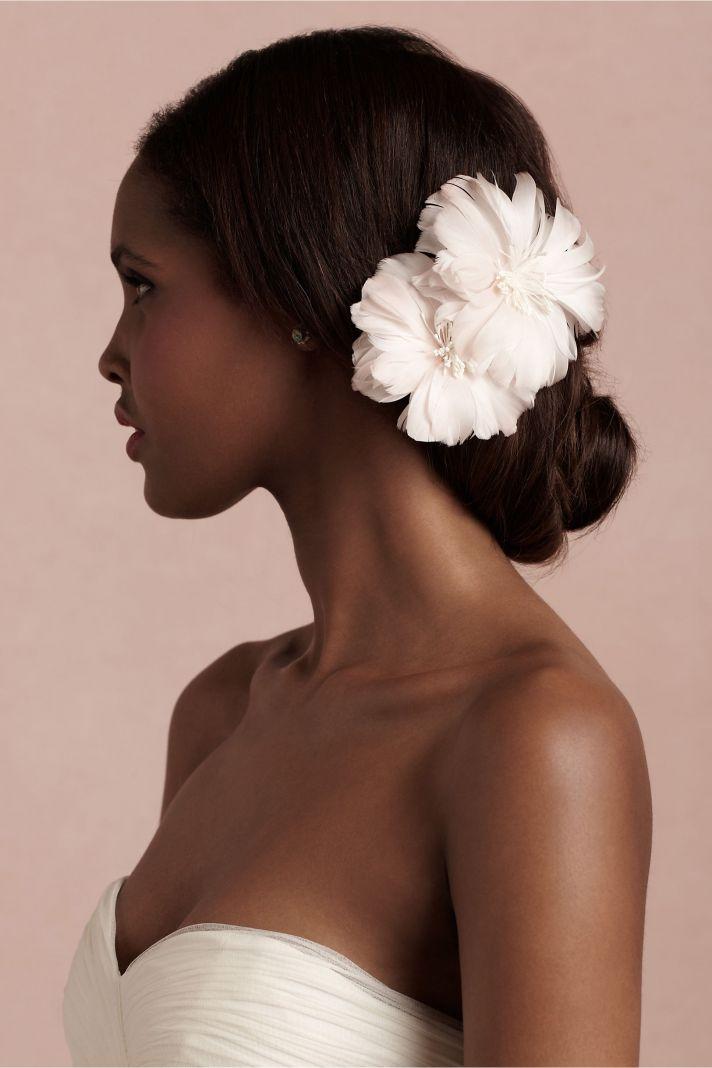BHLDN bridal accessories for vintage weddings blush pink hair flower