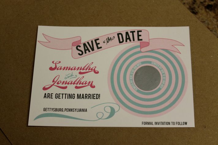 vintage wedding save the date scratch off pink aqua