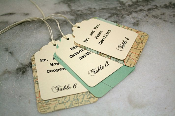 handmade wedding escort cards Etsy wedding stationery maps 2