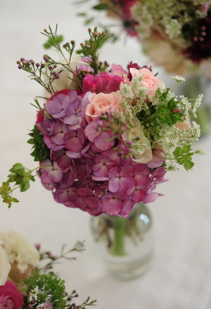 real wedding photography planning inspiration reception centerpiece pink hydrangeas