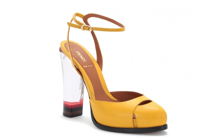 yellow fendi shoes with clear heel