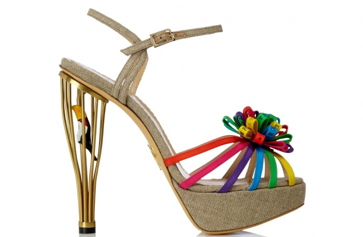 unique wedding shoes rainbow and gold