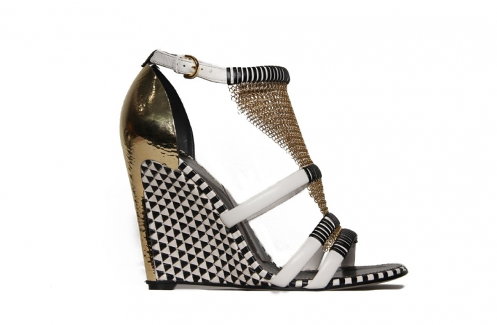 black white gold wedding shoes wedges