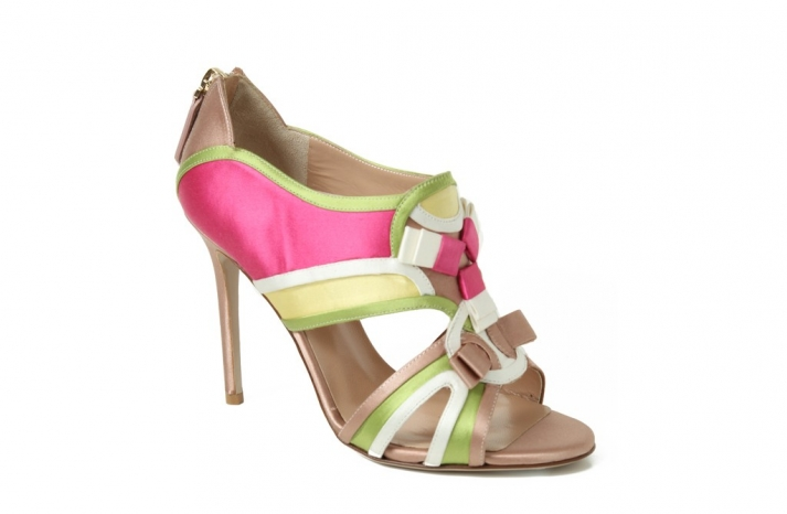 valentino wedding shoes nude with pink green yellow