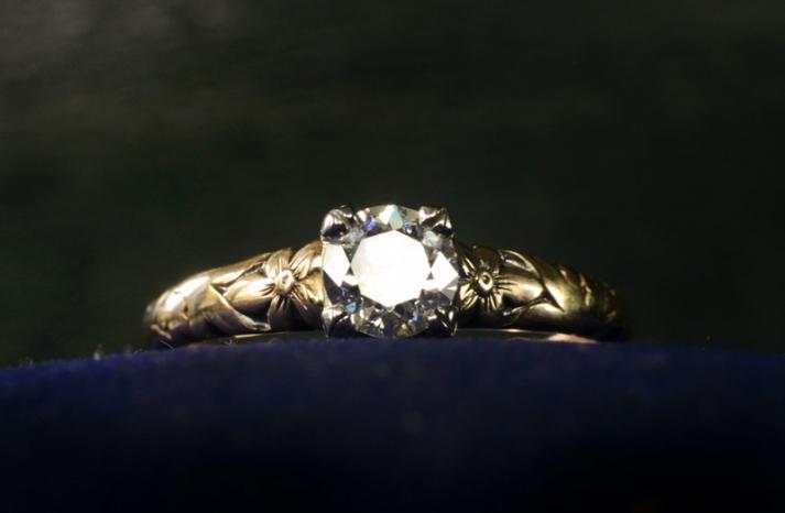 antique engagement rings for vintage brides 1930s european cut yellow gold