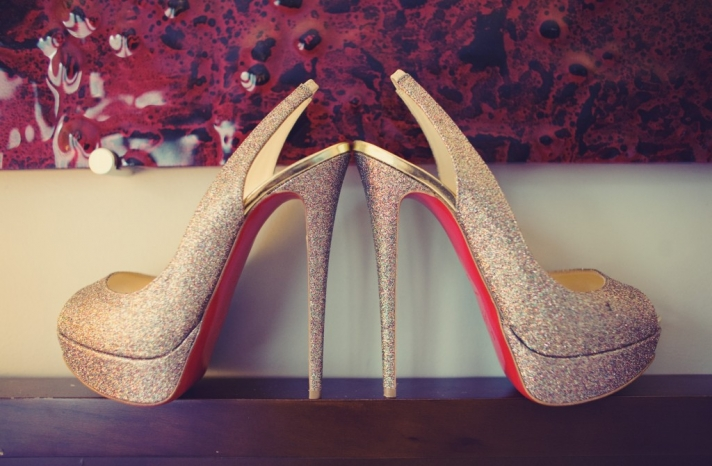 glamourous bridal style real wedding photos Christian Louboutin shoes
