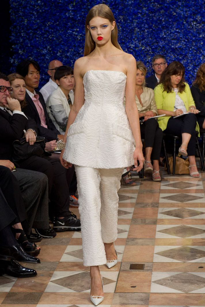runway to white aisle wedding dress bridesmaid dress inspiration Christian Dior ivory bridal suit