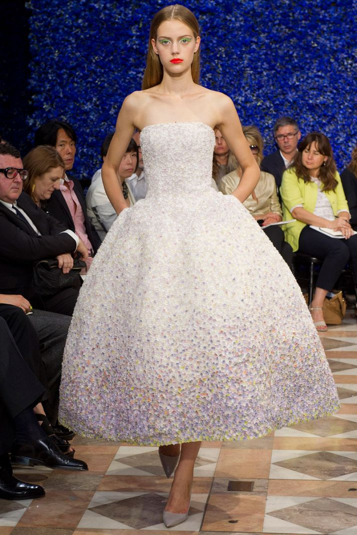 runway to white aisle wedding dress bridesmaid dress inspiration Christian Dior sparkly LWD