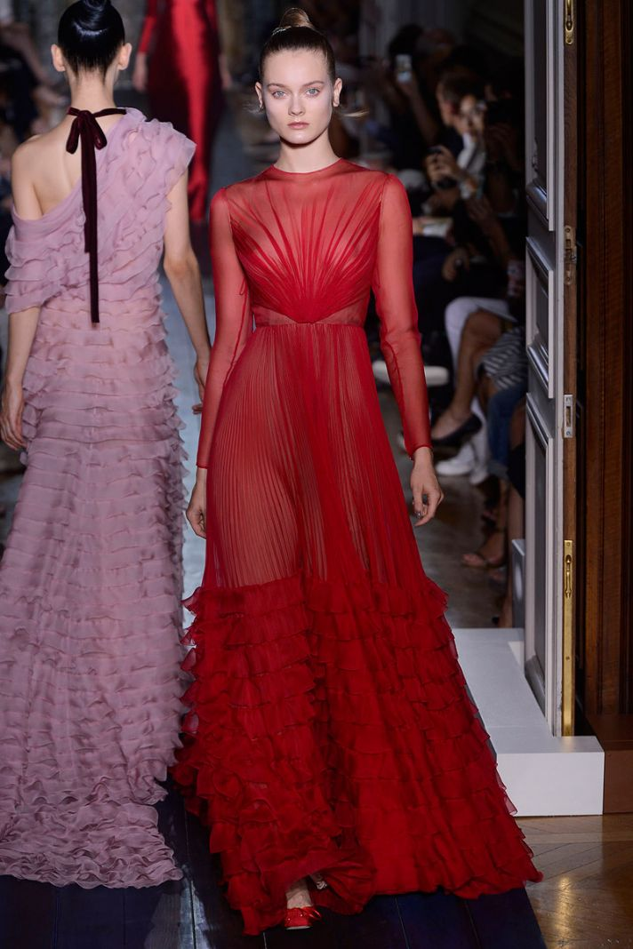 runway to white aisle wedding dress bridesmaid dress inspiration Valentino red pink