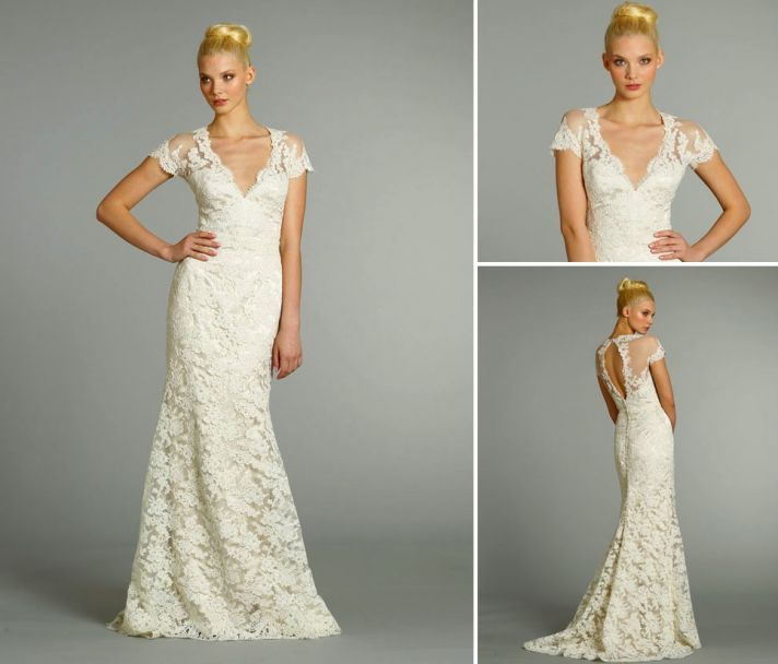 15 wedding dresses perfect for a classic cathedral wedding 2 jim hjelm fall 2012 lace v neck