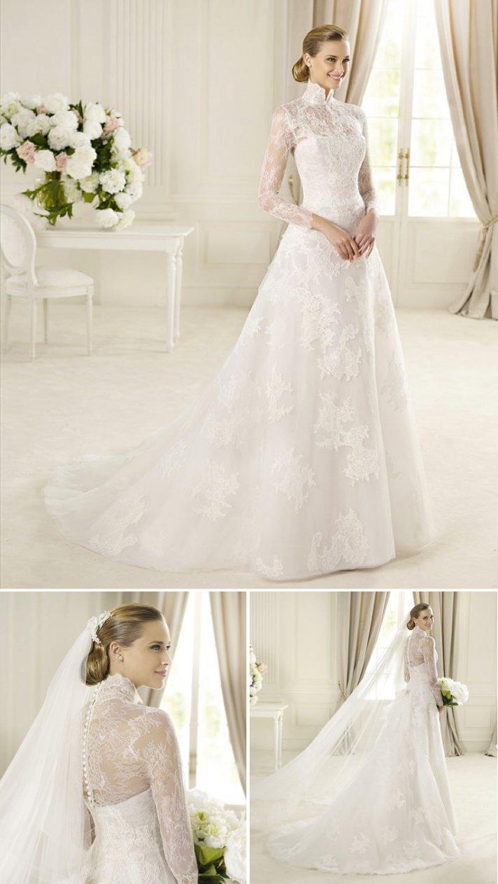 15 wedding dresses perfect for church weddings Pronovias a line lace sleeves high neck 2