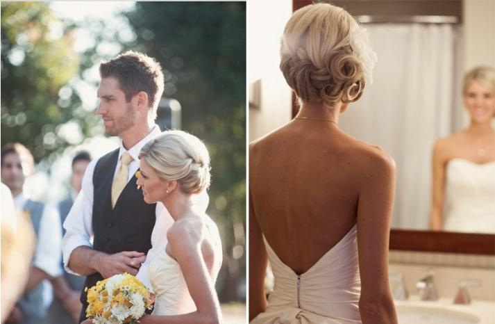 gorgeous bridal updo curls and braids with fascinator