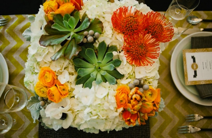 orange green succulent wedding inspiration floral centerpiece