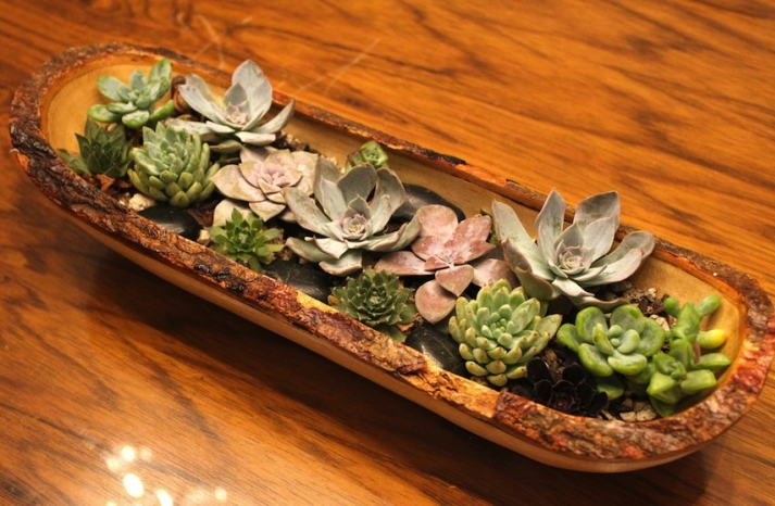 simple wedding centerpieces for a handcrafted wedding succulents in rustic wood trough