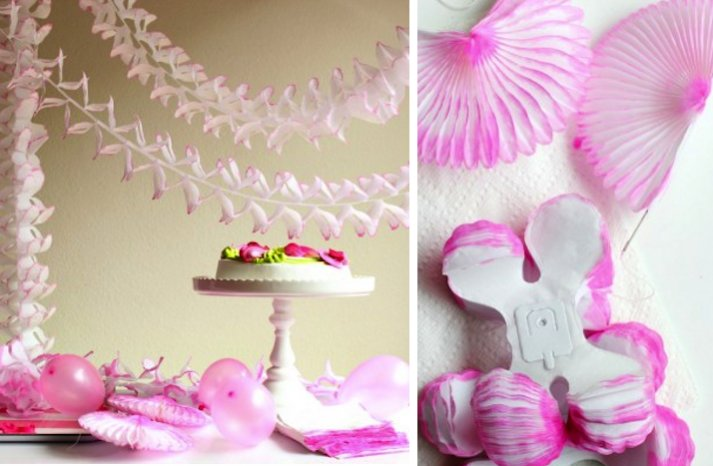 summer wedding DIY ideas ombre pink reception paper decor