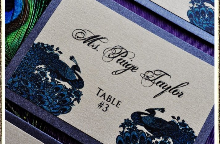 luxe wedding stationery escort cards with feathers