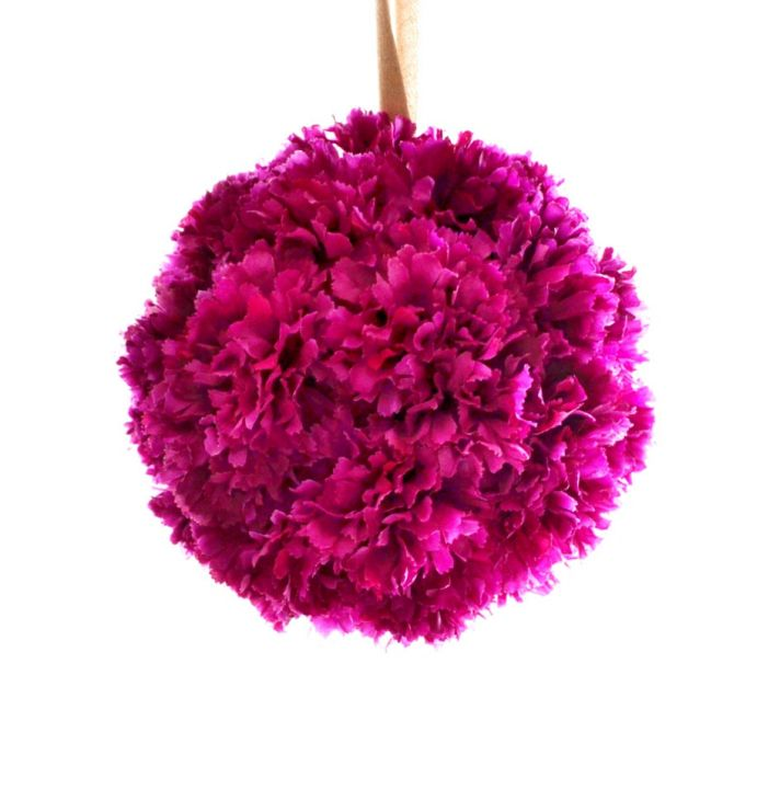 fuchsia gold wedding inspiration paper pomanders