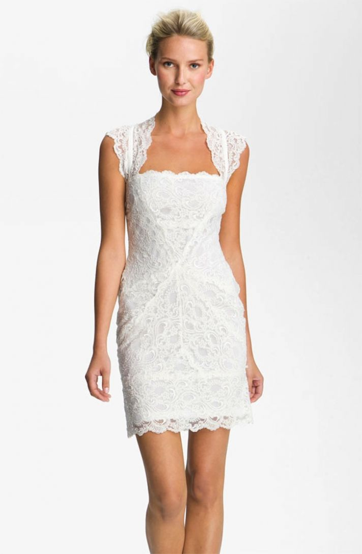 lace little white wedding dresses for the wedding reception LWDs Nicole Miller