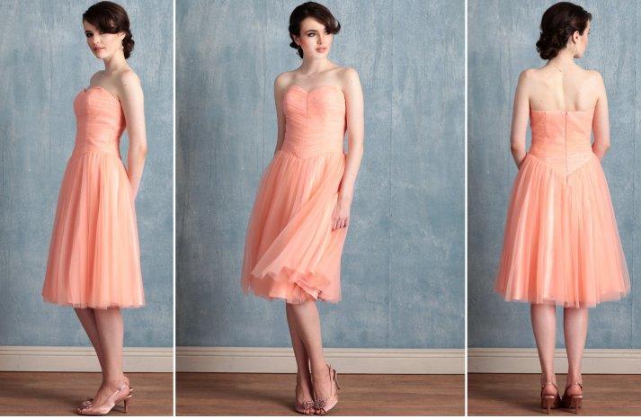 Ruche bridesmaids dresses stylish colorful bridal party attire coral