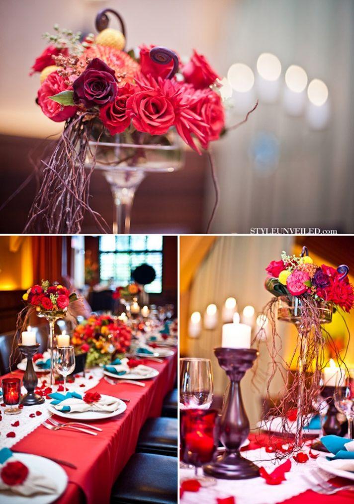 Havana Nights wedding theme bold wedding centerpieces