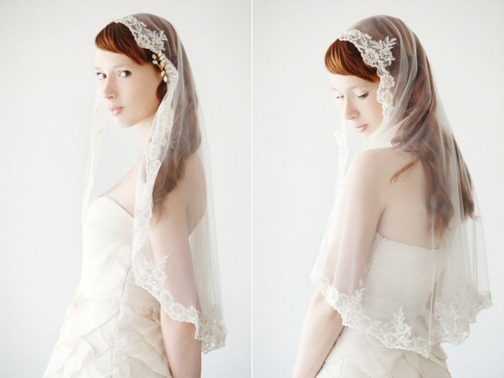 romantic wedding accessories bridal head chic Mantilla veils elbow length with lace