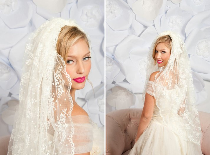 romantic bridal accessories wedding veils mantilla style 1