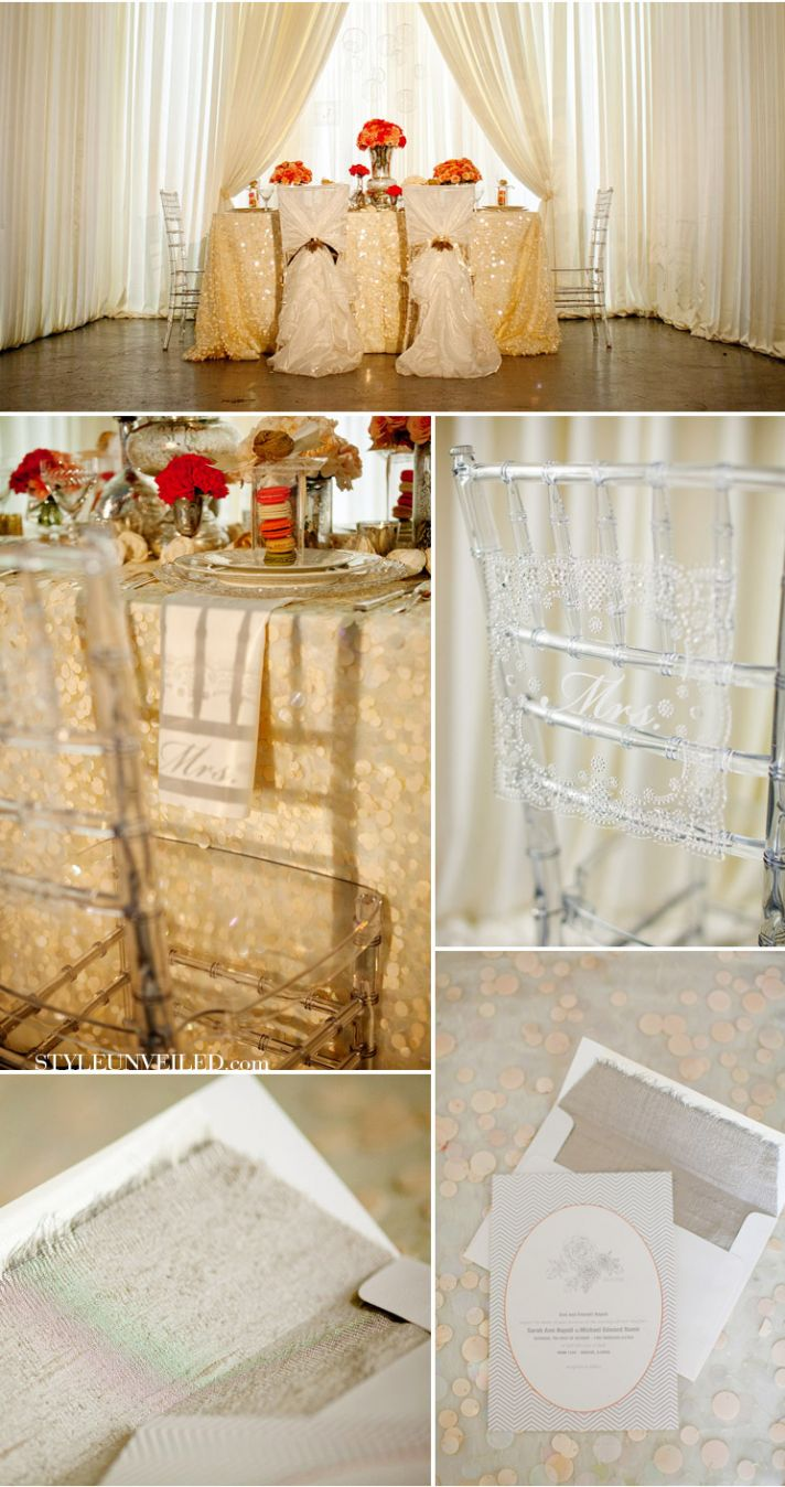 lucite wedding chairs elegant reception 1