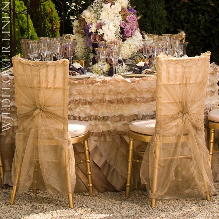 wedding reception decor inspiration pretty wedding chairs Wildflower Linens ivory champagne