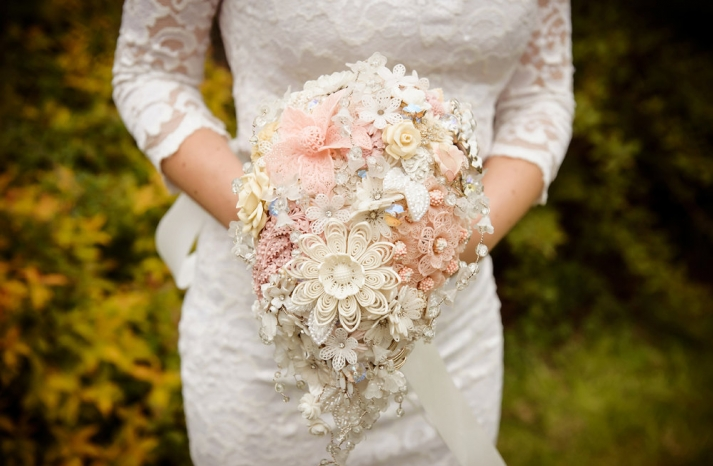peach wedding pretties for romantic weddings brooch button bouquet