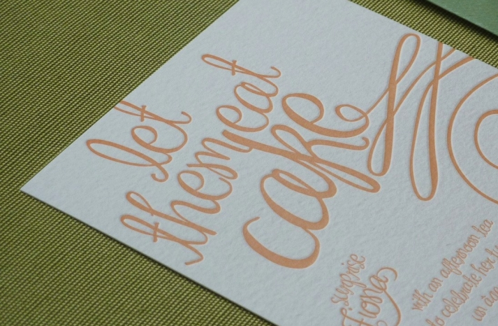 peach wedding pretties elegant invitations letterpress 1