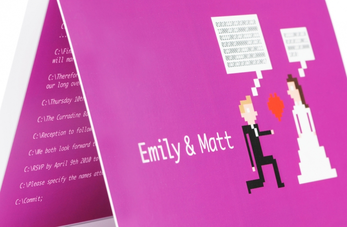 funny geeky wedding invitations computer coding theme fuschia 1