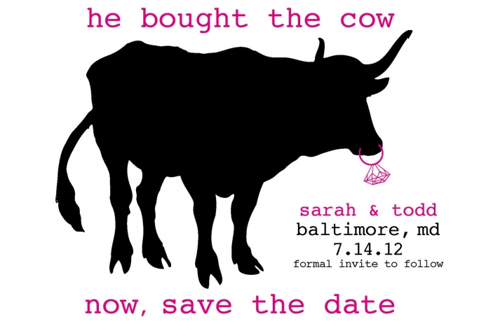funny wedding invitation cow