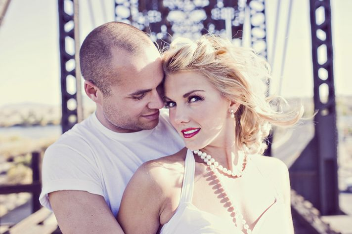 outdoor engagement session Marilyn Monroe bride to be 1