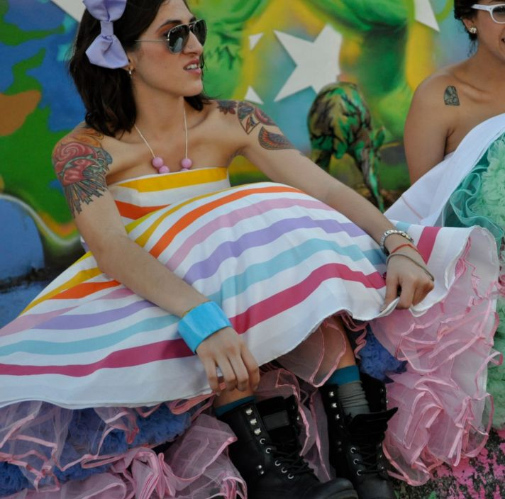 rainbow wedding inspiration offbeat bridesmaid with tats