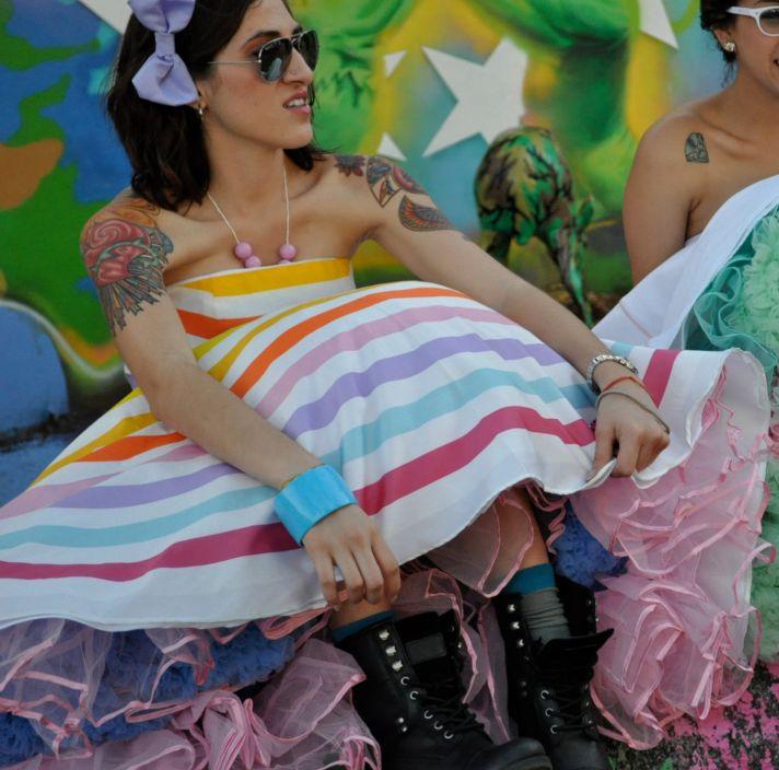 rainbow wedding inspiration offbeat bridesmaid with tats