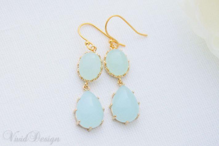 something blue wedding inspiration bridal style spotting drop earrings