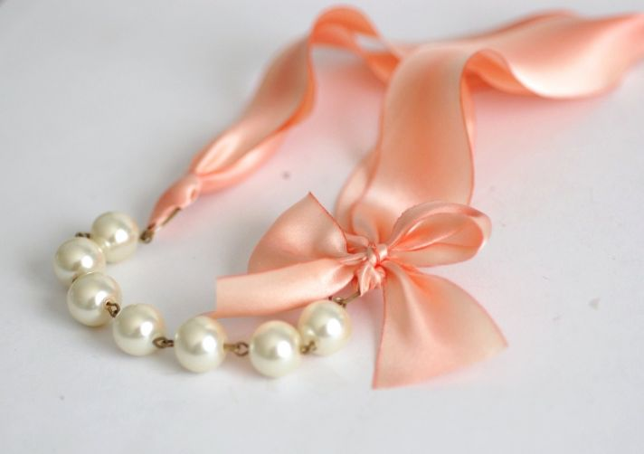 peaches and cream wedding color palette bridal accessories romantic necklace