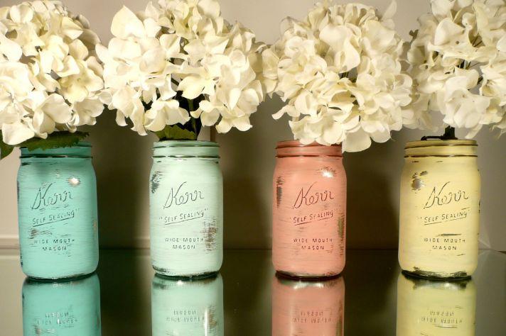 peaches and cream wedding color palette romantic weddings painted mason jars