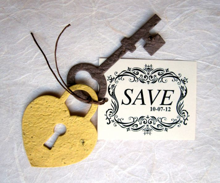 unique wedding save the date lock and key