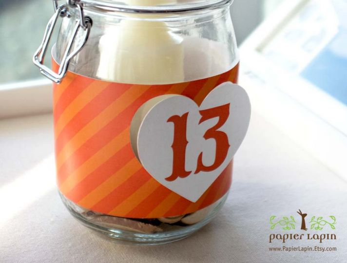heart shaped wedding theme reception table numbers orange