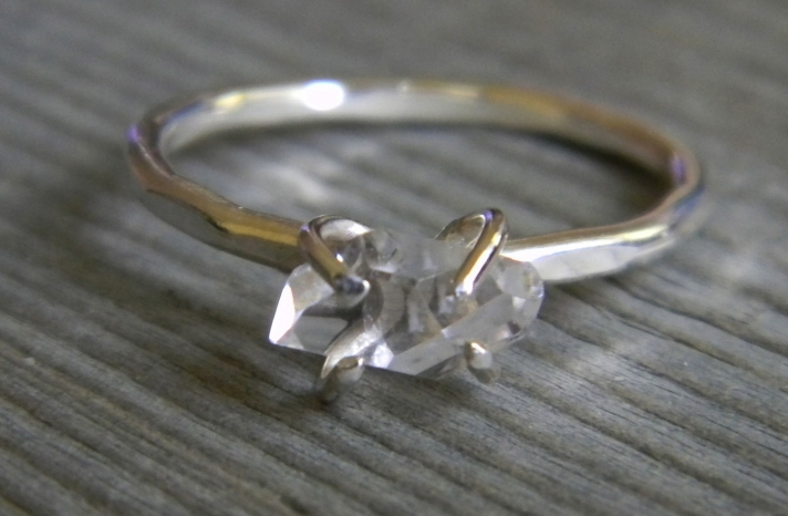 unique diamond engagement rings wedding jewelry with rough Herkimer stones 3