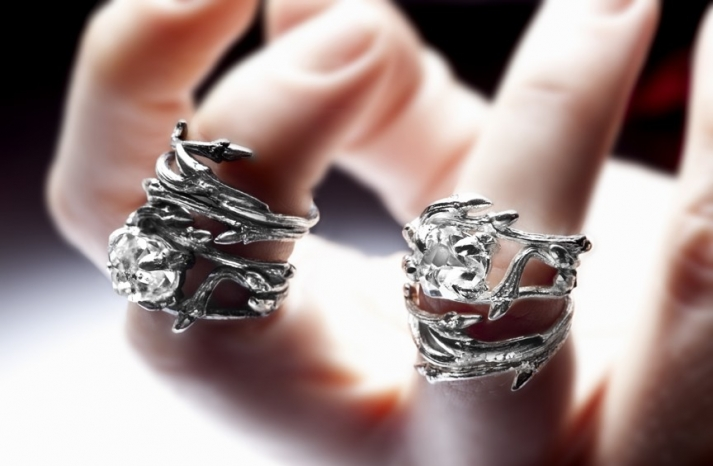 unique diamond engagement rings wedding jewelry with rough Herkimer stones 8
