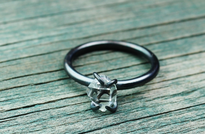 unique diamond engagement rings wedding jewelry with rough Herkimer stone oxidized
