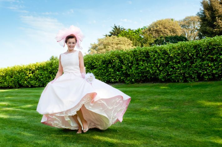 unique wedding dresses non white bridal gown 1950s inspired light pink ivory