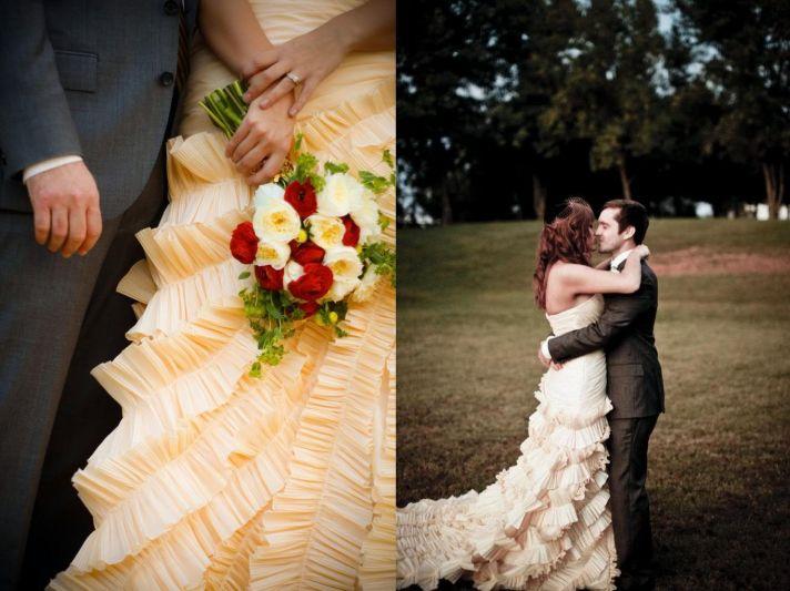 unique wedding dresses non white bridal gown peach ruffles