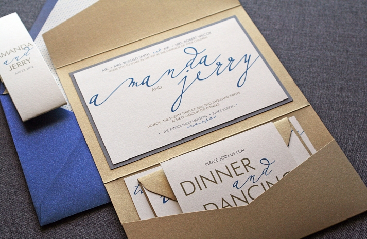 wedding invitations for modern weddings Etsy wedding finds gold blue calligraphy