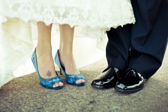 charming country club wedding bride groom shoes