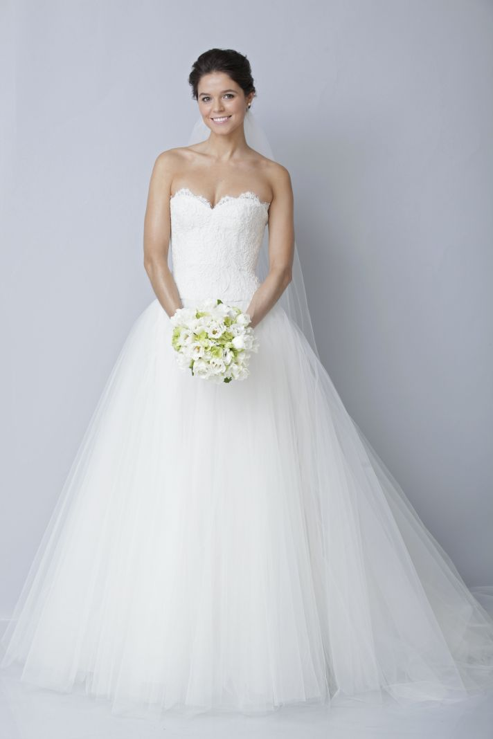 2013 wedding dress by Theia bridal gowns lace tulle ballgown