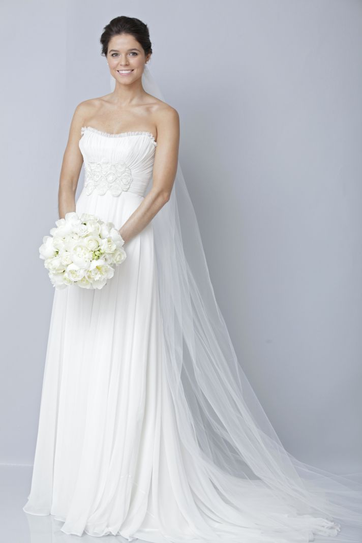 2013 wedding dress by Theia bridal gowns strapless sheath