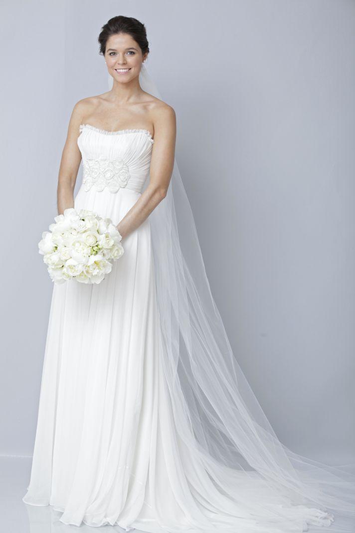 2013 wedding dress by Theia bridal gowns strapless sheath